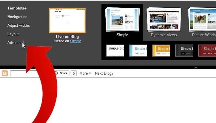 دکمه ی advance نحوه ی تغییر فونت در Blogger