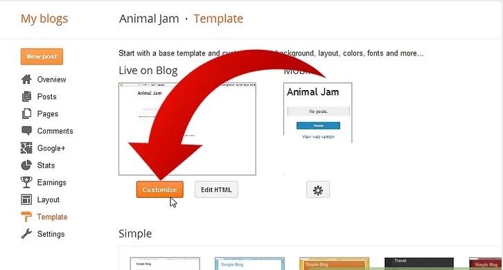 گزینه Customize نحوه ی تغییر فونت در Blogger