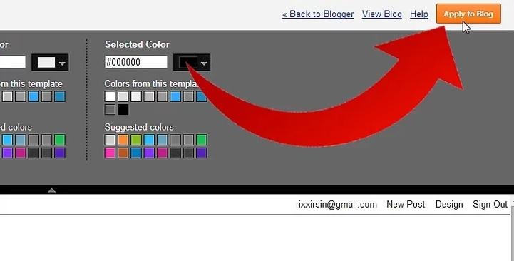 گزینه apply to blog نحوه ی تغییر فونت در Blogger