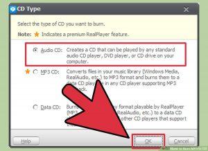 گزینه ی Audio CD