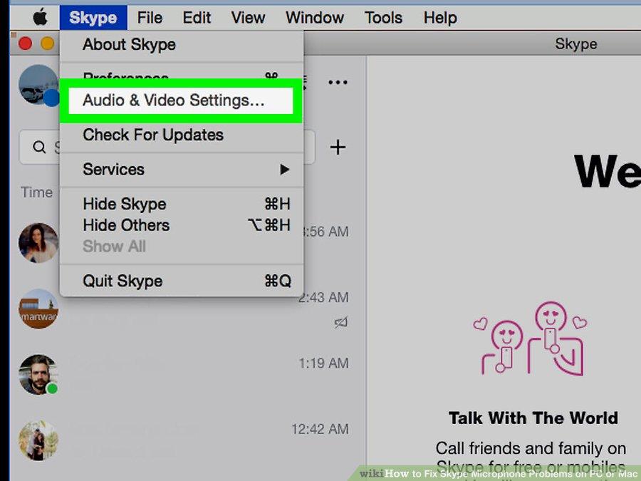 گزینه ی Audio & Video Settings