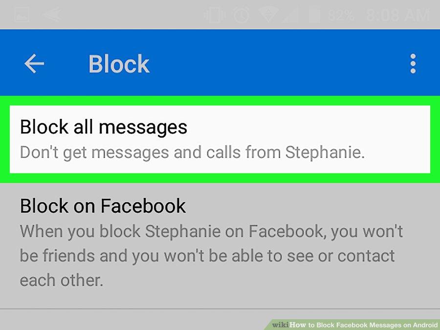 گزینه ی Block all messages