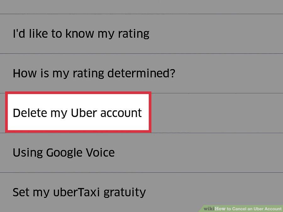 گزینه ی Delete my Uber Account