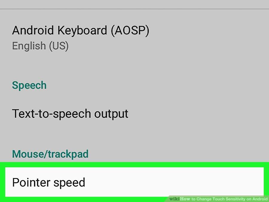 گزینه ی Pointer speed
