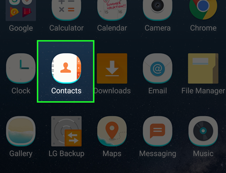 گزینه contacts