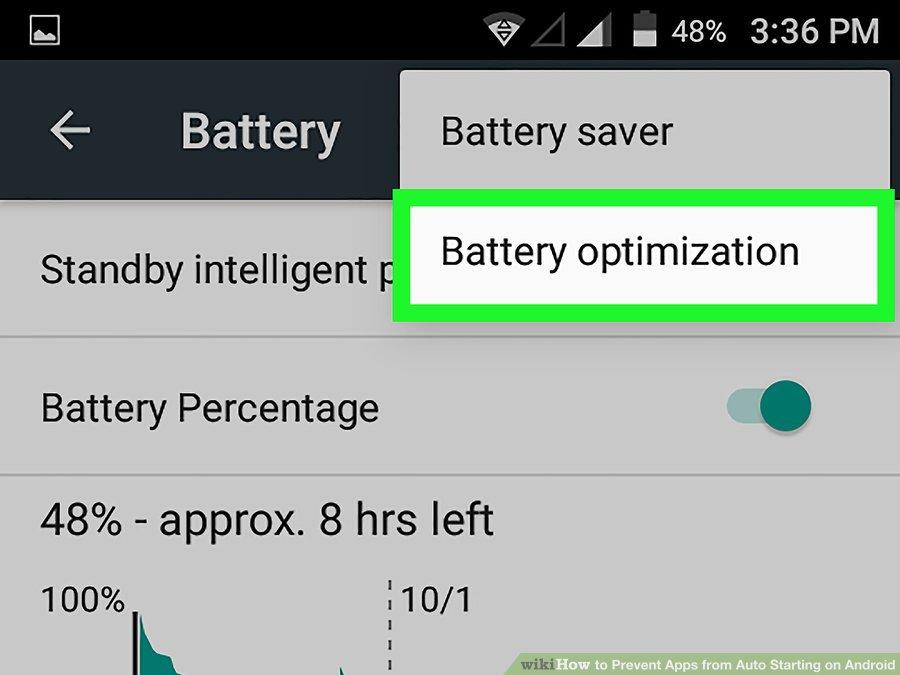 گزینه ی Battery Optimization