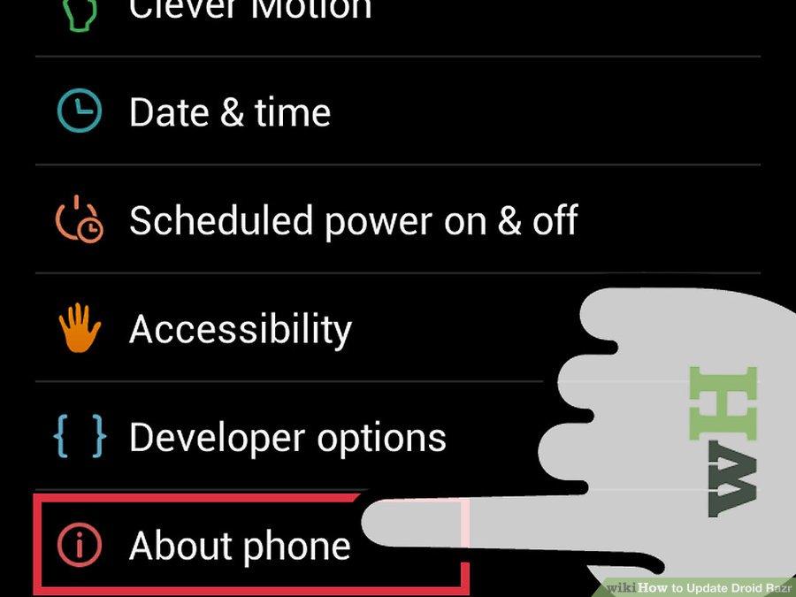 گزینه About phone