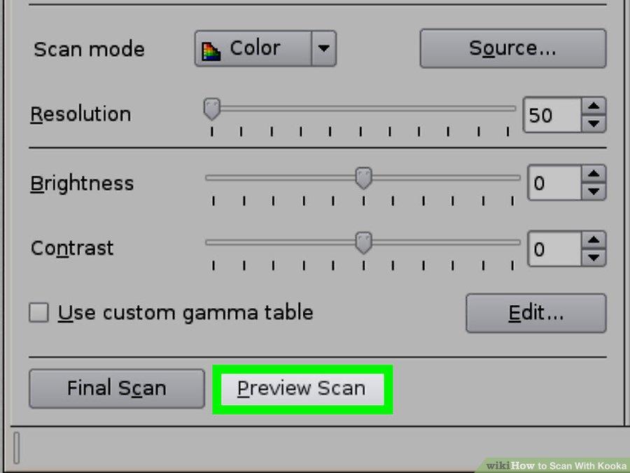 گزینه ی Preview Scan