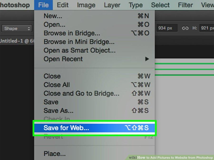 گزینه  Save for Web