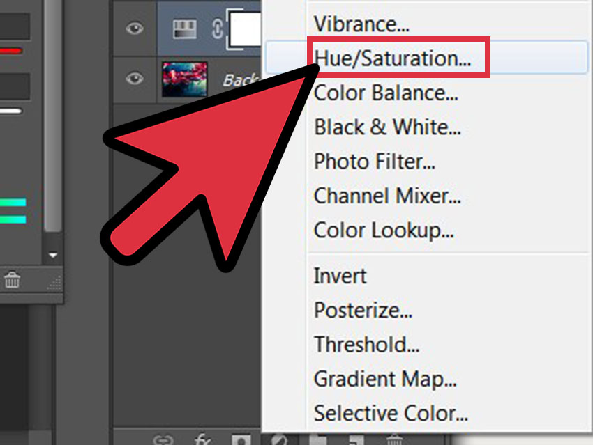 گزینه hue saturation