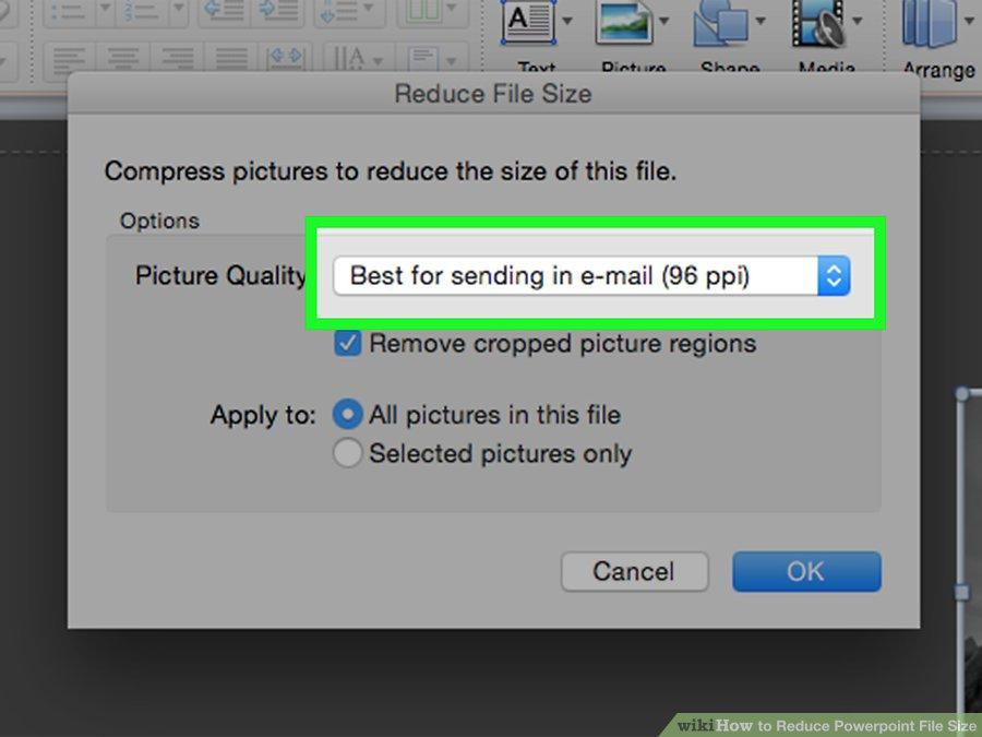 گزینه Best for sending in e-mail
